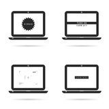 Laptop technology set with icons illustration on white Stock Photo
