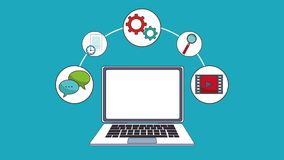 Work and laptop HD animation vector illustration