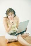 Laptop teen girl Stock Images