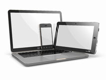 Laptop-, Telefon- und Tablette-PC. Elektronische Geräte Lizenzfreie Stockfotos