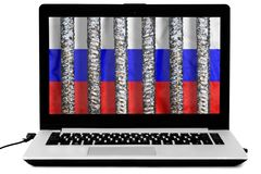 Laptop with thick metal prison grate and a russian flag on the screen isolated on white background. Illustration of the law about disconnecting the Russian royalty free stock photo