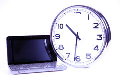 Laptop and time concept! Royalty Free Stock Photography