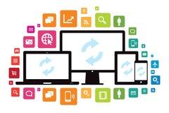 Laptop-Tischplattentablet-Smartphone-APP-Wolken-Synchronisierung Lizenzfreie Stockfotos