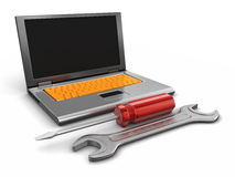 Laptop and tools (clipping path included) Stock Photos