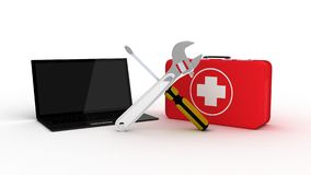 Laptop with tools and a first aid kit on a white background royalty free illustration
