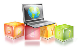 Laptop on the top of a cubes. Laptop on the top of a the colorful cubes Stock Photo