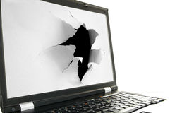 Laptop torn Stock Photo
