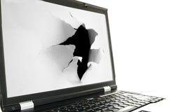 Laptop torn stock photo