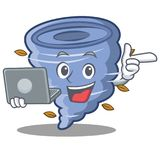 With laptop tornado character cartoon style Royalty Free Stock Photo