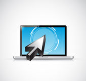 Laptop touchscreen and cursor. illustration design. Over a white background Stock Photo