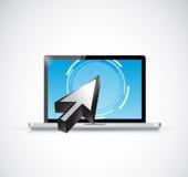 Laptop touchscreen en curseur Het ontwerp van de illustratie Stock Foto