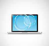 Laptop touchscreen illustration design. Over a white background Royalty Free Stock Image