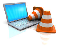 Laptop and traffic cones. 3d illustration of laptop computer and traffic cones Stock Photos