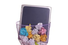 Laptop in trash Stock Images