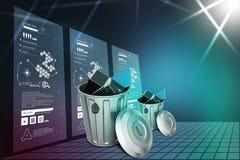 Laptop in trash bin Royalty Free Stock Image