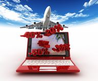 Laptop and travel site Royalty Free Stock Photos