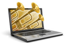 Laptop and Trumpet (clipping path included) Royalty Free Stock Image