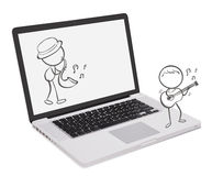 A laptop with two musicians Royalty Free Stock Photo