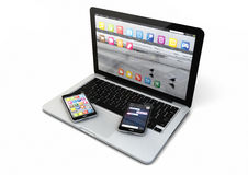 Laptop and two smartphones Royalty Free Stock Photography