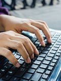 Laptop typing Royalty Free Stock Photo