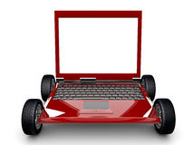 Laptop with tyres  on a white background Royalty Free Stock Photos