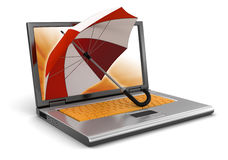 Laptop and Umbrella (clipping path included) Royalty Free Stock Image
