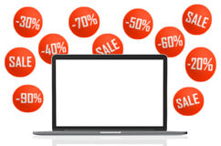 Laptop Unbelegter Bildschirm Lokalisiert auf Weiß Lizenzfreies Stockbild