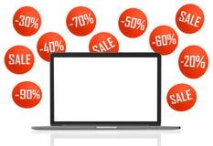 Laptop Unbelegter Bildschirm Lokalisiert auf Weiß Stockfoto