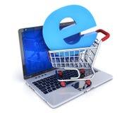 Laptop und abstrakter EShopwarenkorb Lizenzfreie Stockfotos