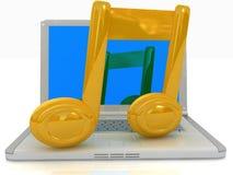 Laptop und Anmerkung Stockfoto