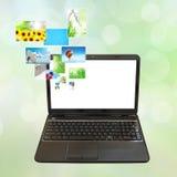 Laptop und Bilder Stockbilder