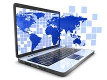 Laptop und blauer Kartenwürfel Stockbild