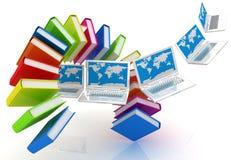 Laptop- und Buchfliegen Stockfoto