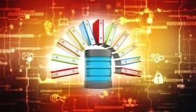 Laptop und CAB-Datei mit Ringmappen Server und CAB-Datei mit Ringmappen 3d übertragen lizenzfreie abbildung