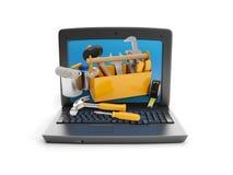Laptop und eine Gruppe lizenzfreie abbildung