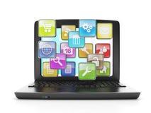 Laptop und eine Gruppe von Stockbild