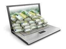 Laptop und Euro (Beschneidungspfad eingeschlossen) Lizenzfreie Abbildung