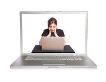 Laptop und Frau stockfotos