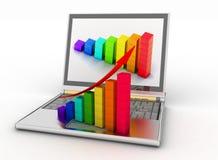 Laptop und Geschäftsdiagramm Stockfotografie
