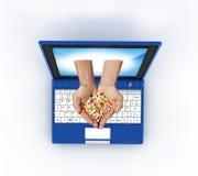 Laptop und Gesundheit lizenzfreie stockfotos