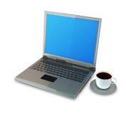 Laptop- und Kaffeetasse Stockfoto