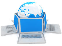 Laptop- und Kugelkonzept Lizenzfreies Stockbild