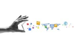 Laptop und Mediaspeicher, der online kauft Stockbilder
