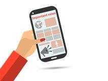Laptop und Nachrichtenweb site Smartphone in der Hand Wichtige Nachrichten Die Pfeile sind auf unterschiedlicher Schicht, also kö Lizenzfreie Abbildung