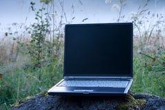 Laptop und nebeliges Feld lizenzfreie stockfotografie
