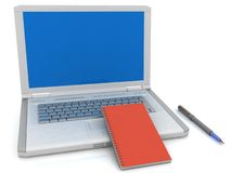 Laptop und Notizbuch Stockfotografie
