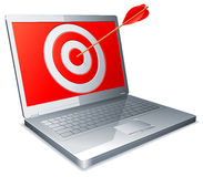 Laptop und Pfeil. Stockfoto