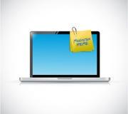 Laptop und Register hier geben Illustration bekannt lizenzfreie abbildung