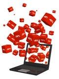 Laptop und rote Kästen mit den Waren an einem Rabatt lizenzfreie abbildung