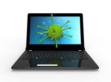 Laptop und Virus Stockfoto
